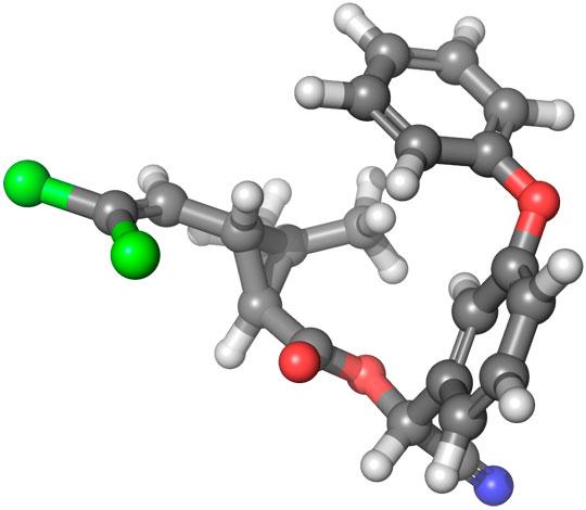 За структурою молекула циперметрину схожа з такою у молекул інших піретроїдів.