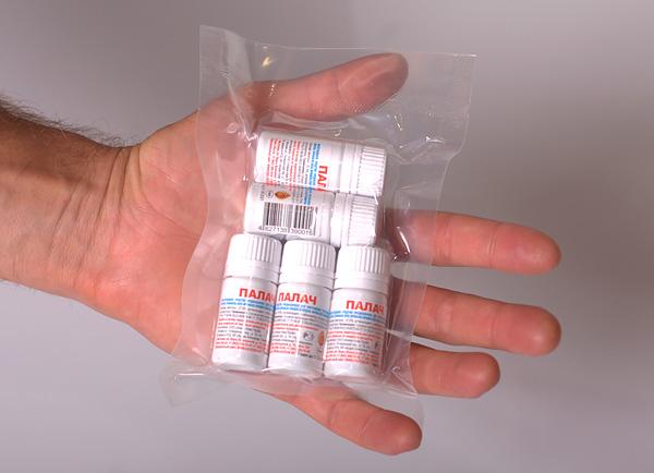 Также оригинальный Палач для оптовиков упаковывают в пакеты по 10 и по 40 флаконов.